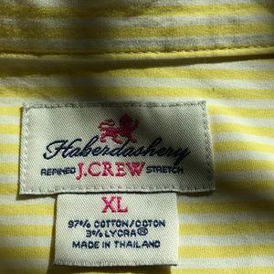 J. Crew Tops - J. Crew XL Yellow Striped Button Down Oxford 2146